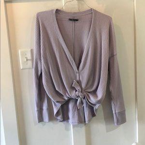 Abercrombie Lavender Tie Front Blouse Size Medium